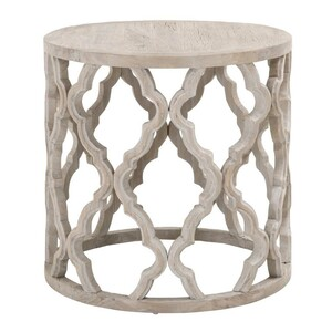 Clover Large End Table 24 dia x 23.5 H inches Reclaimed Elm Wood
