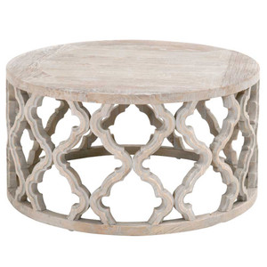 Clover Coffee Table - 8027.SGRY-ELM 30.5 dia x 15.75 H inches Reclaimed Elm Wood