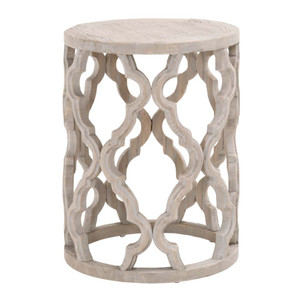 Clover End Table - 8028.SGRY-ELM 18 dia x 23.5 H inches Reclaimed Elm Wood