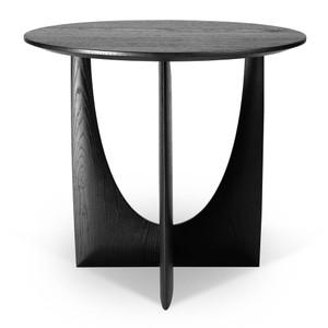 Oak Geometric Side Table  - 50536 20 dia x 20 H inches Oak Wood  Black