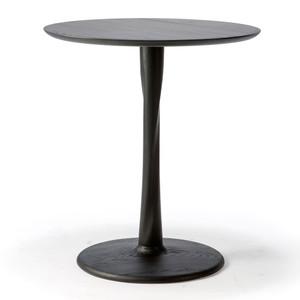 Oak Torsion Dining Table 28 dia x 30 H inches Oak Wood Black