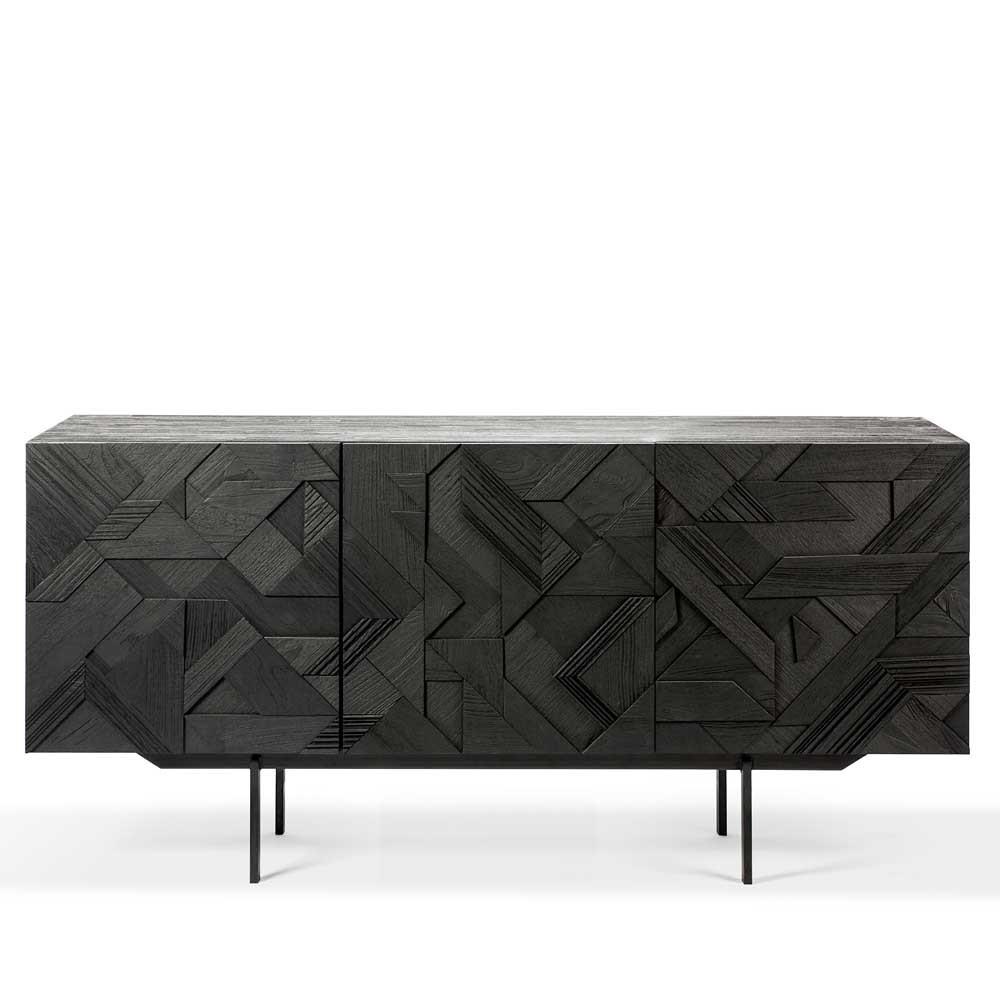 Teak Graphic Sideboard 66.5 x 18 x 31.5 H inches Teak Wood, Metal