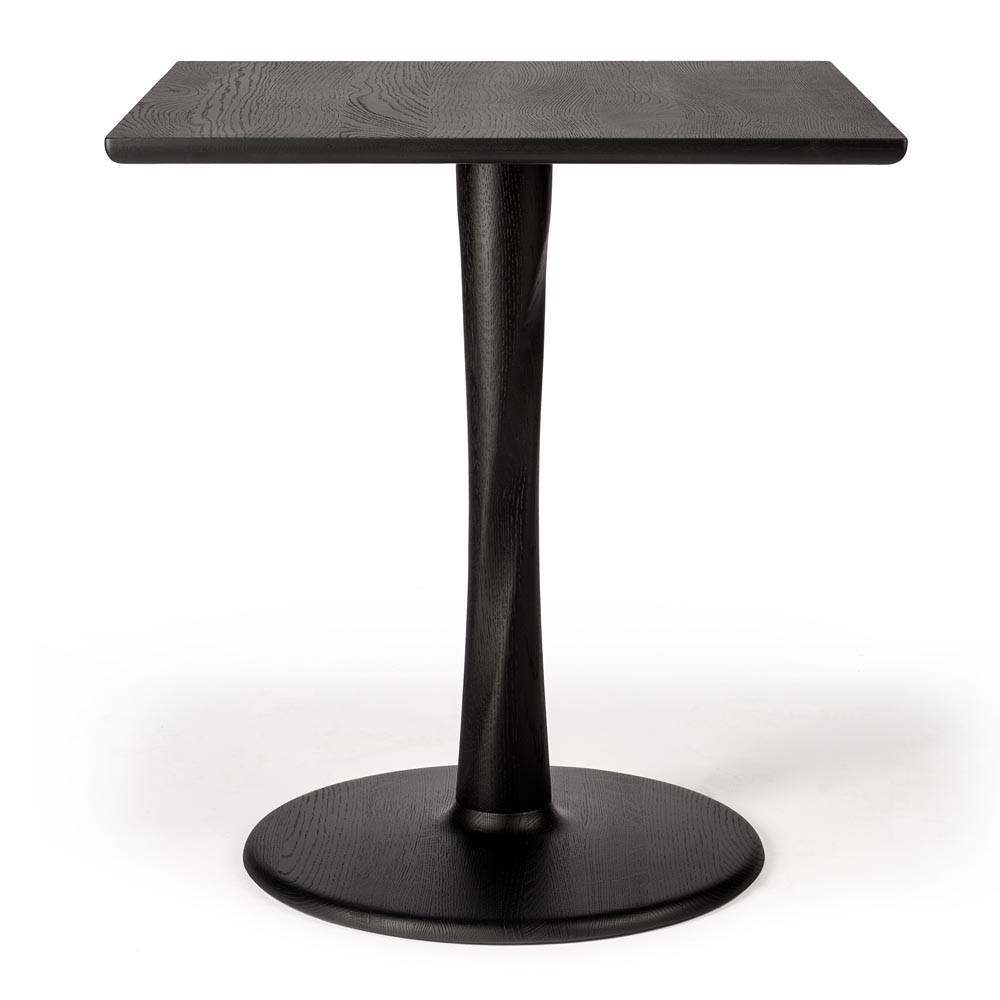Square Oak Torsion Dining Table 28 x 28 x 30 H inches Oak Wood Black