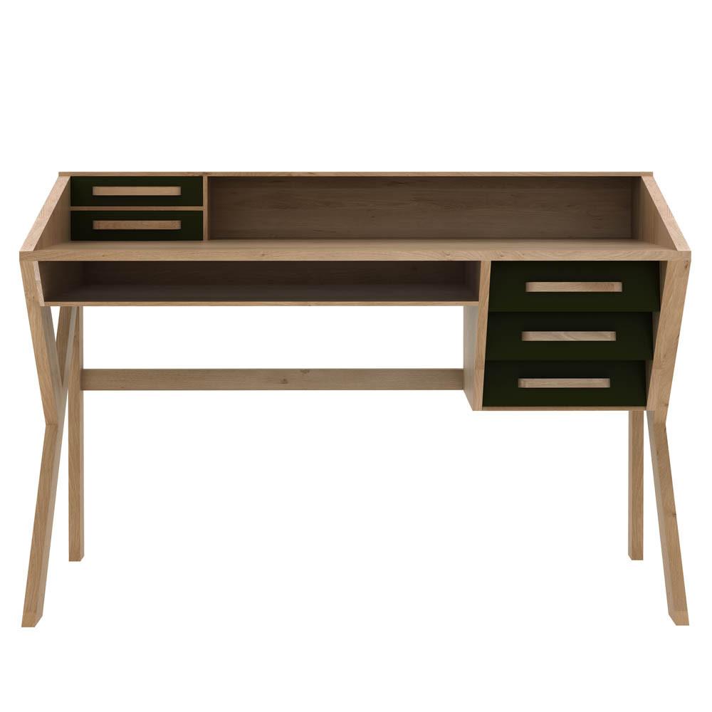 Oak Origami Desk - 45055 53.5 x 22 x 37.5 H inches Oak Wood Black