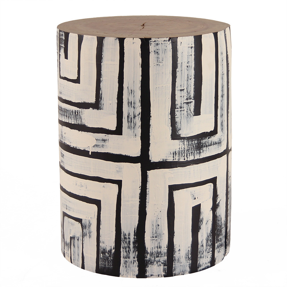 Upton Hand Painted Log Table 12 - 16 dia x 18  H inches