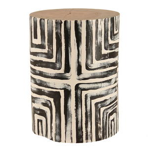 Mbizi Hand Painted Log Table 12 - 16 dia x 18  H inches