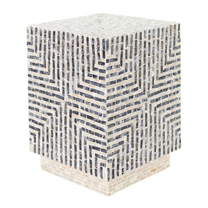 Lharysa End Table  19  x 19 x 19 H inches Shell Inlay