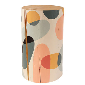 La Melodia Hand Painted Log Table 12 dia x 20 H inches