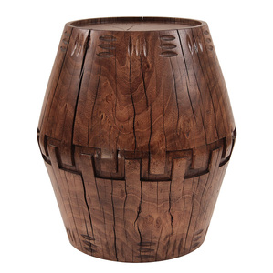 Palma Hand Carved Occasional Table 20 dia x 22 H inches, 14 diameter top Honey Brown