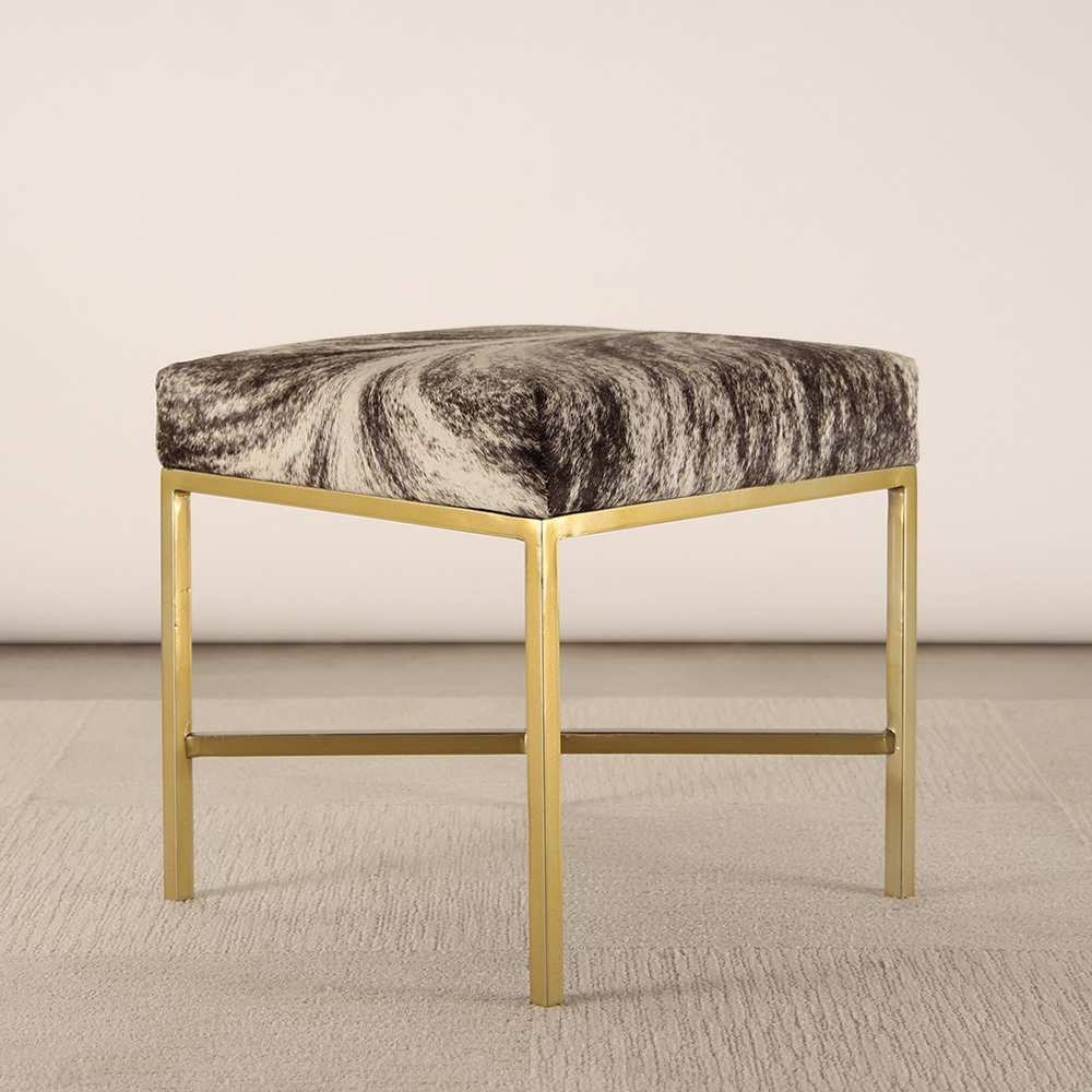 DeVargas Cowhide Bench 18 x 18 x 18 H inches Cowhide, Brass Black and White Speckle