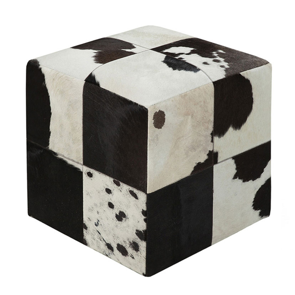 Farmhouse Hide Pouf - POUF-56 18 x 18 x 18 H inches Cowhide