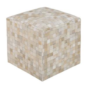 Cubist Hide Pouf  18 x 18 x 18 H Cowhide