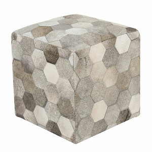Hexagon Hide Pouf - TLPF-001 18 x 18 x 18 H inches Cowhide