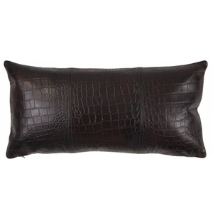 Outback Crocodile Pillow 10 x 18 inches Leather Espresso Brown