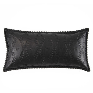 Motorcycle Leather Pillow 9 x 18 inches Leather Black