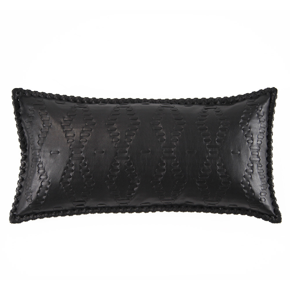 Motorcycle Leather Pillow 10 x 18 inches Leather Black