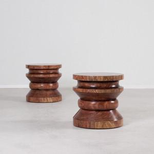 Dominguez Stool Table 16 dia x 16 H inches Light Walnut Finish Sealed Topcoat
