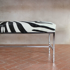 Faux Zebra Hide Bench 48 x 16 x 19 H inches Stenciled Cowhide, Chrome
