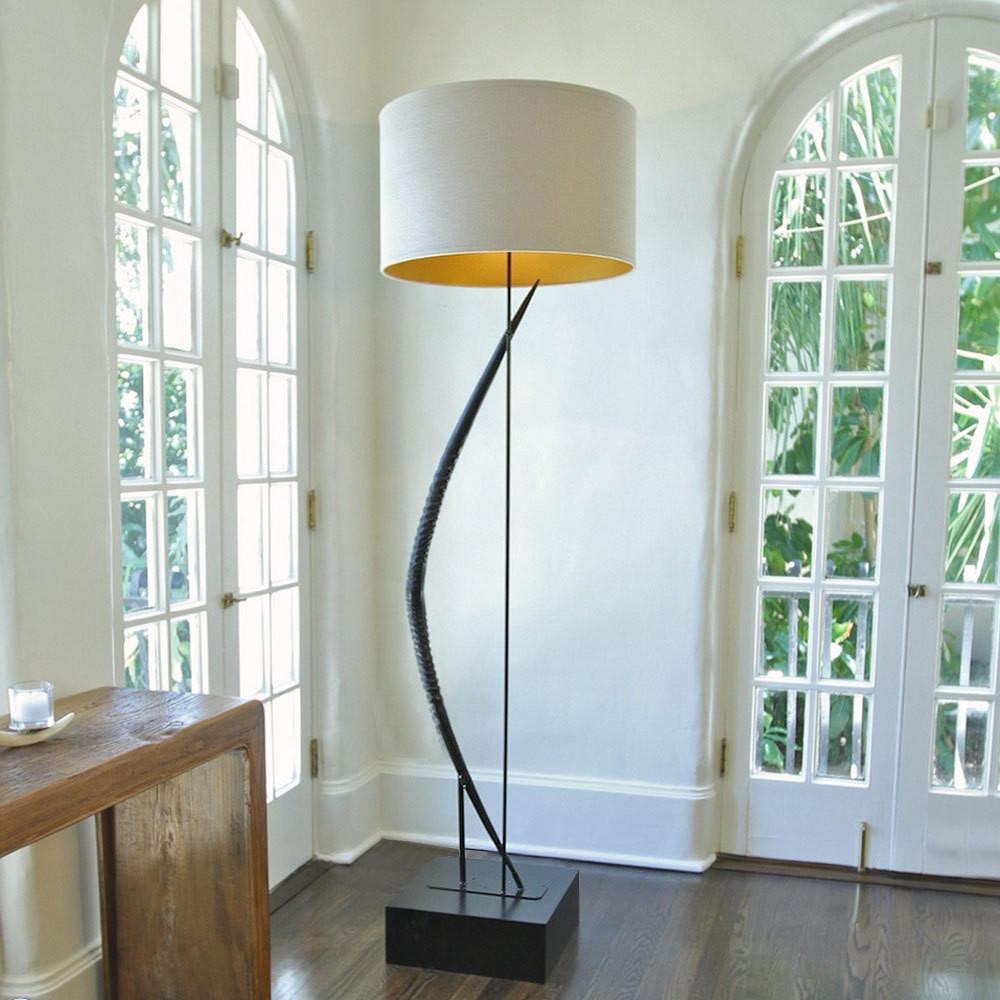 Light Curvature Gemsbok Horn Floor Lamp 24 diameter x 79 H inches Gemsbok Horn, Wood, Linen