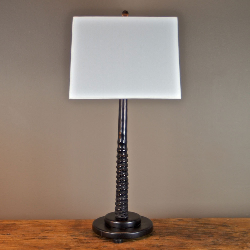 Zanzibar Gemsbok Horn Lamp - TL2 14 x 8 x 27 H inches Gemsbok Horn, Wood, Linen