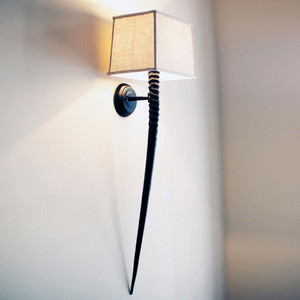Kalahari Horn Sconce - WL-3 13 x 4.5 x 40 H inches Gemsbok Horn, Linen