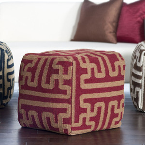 Tribal Geometry Wool Pouf  8 x 18 x 18 H inches Wool Maroon