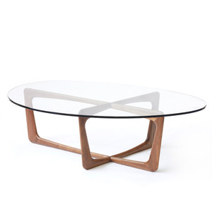 Pasadena Coffee Table 38 x 48 x 15 H inches Walnut, Glass