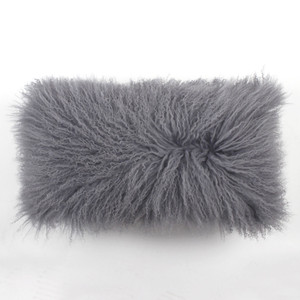 City Grey Mongolian Lamb Pillow 10 x 18 inches