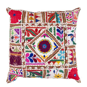 Gujurati Embroidered Pillow - AR-068 18 x 18 inches Cotton, Polyester