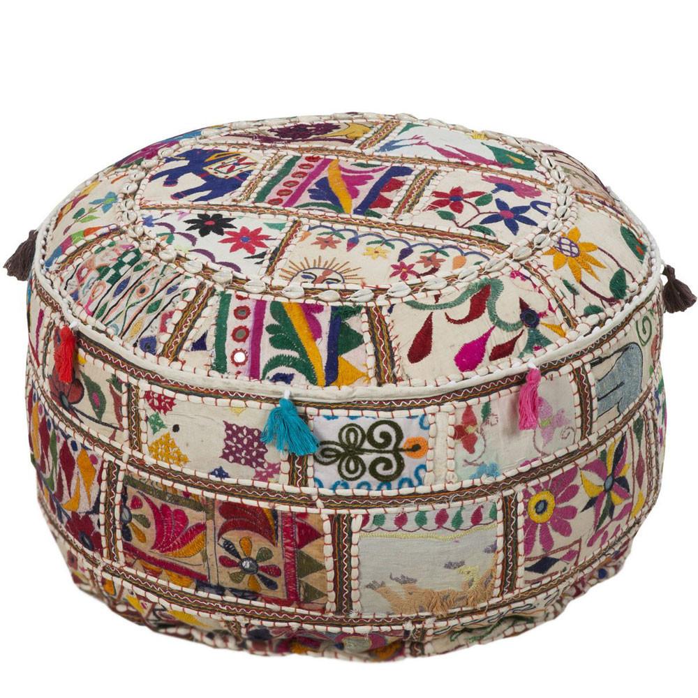Dhari Gujurati Pouf - POUF-92 22 x 22 x 12 H inches Cotton