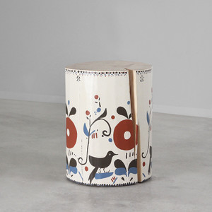 Pajarito Hand Painted Side Table 12 dia x 16 H inches Painted Bone Finish