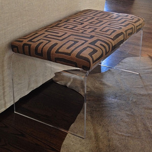 Clearly Primal Bench 50 x 20 x 18 H inches Kuba Cloth, Acrylic