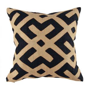 Classic Authentic Kuba Cloth Pillow 20 x 20 inches Woven Raffia Cloth