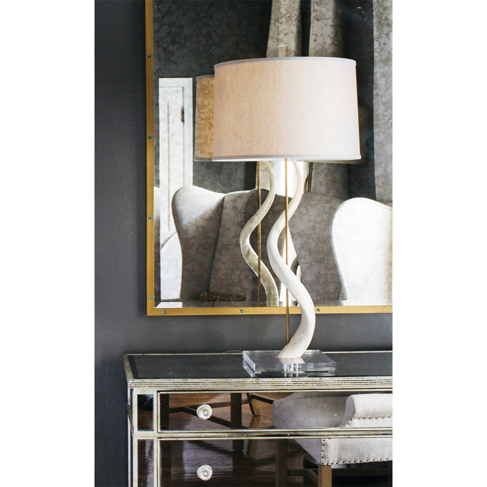 Rhythmic Kudu Core Table Lamp 19 diameter x 37 H inches Kudu Horn, Acrylic, Linen