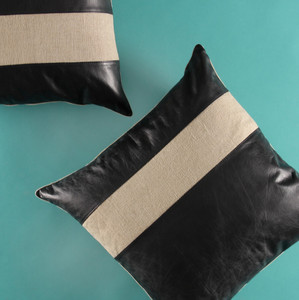 Ray Of Linen Pillow 20 x 20 inches Leather, Linen Black, Natural
