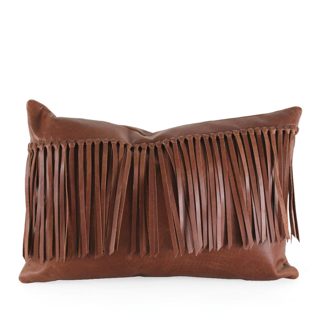 Cowboy Fringe Pillow 10 x 18 inches Leather Saddle Brown