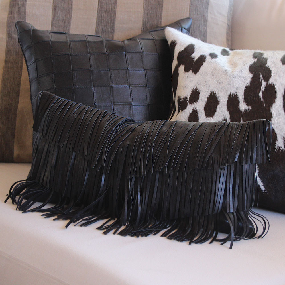 Flamenco Fringe Pillow Vespa Woven Leather Pillow Espresso Spot Pillow