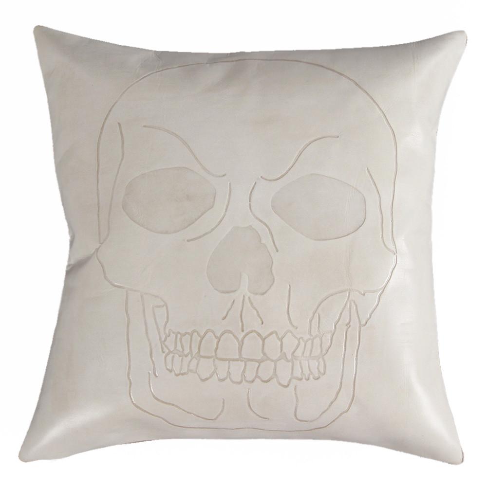 Calavera Skull Pillow 16 x 16 inches Leather Bone