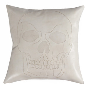 Calavera Skull Pillow 16 x 16 inches Leather Bone