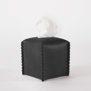 Leather Lacing Tissue Box 6 L x 6 W x 6 H inches Black