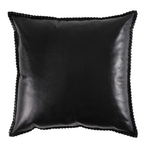 Harvard Club Pillow 20 x 20 inches Leather Black