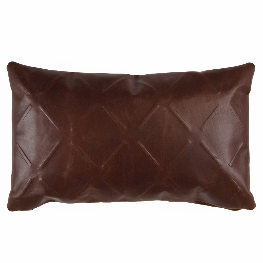 Racer Leather X Pillow 10 x 18 inches Leather Chocolate Brown