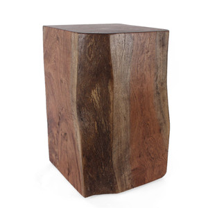 Saranda Natural Edge Wood Cube 15 x 15 x 24 H inches Light Walnut Finish Sealed Topcoat
