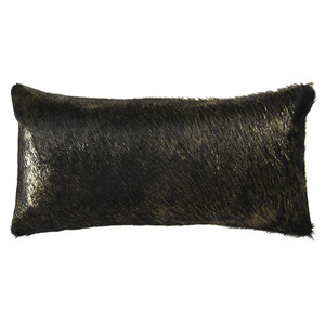Vail Metallic Hide Pillow 10 x 18 inches Cowhide  Black