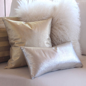 Shimmer Pillow 10 x 18 inches, 16 x 16 inches Leather, Linen Silver, Gold