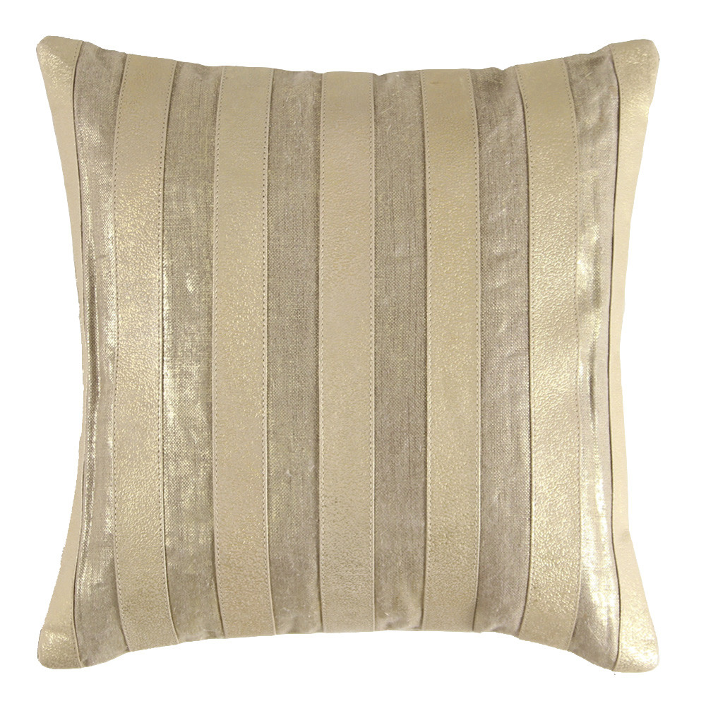Palm Beach Pillow 16 x 16 inches Leather, Linen   Gold