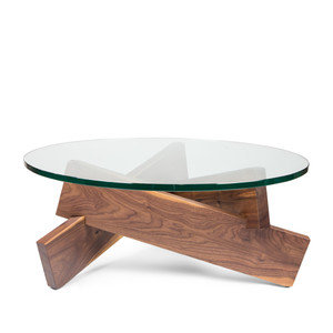 Burbank Coffee Table 36 diameter x 15 H inches Walnut, Glass
