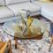 Burbank Coffee Table 36 diameter x 15 H inches Walnut, Glass