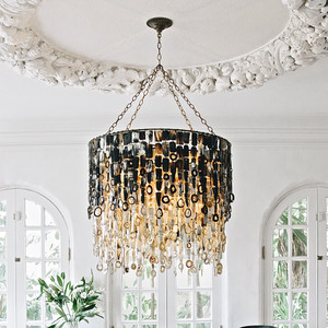 Nguni Horn Chandelier 32 dia x 28 H inches Darl