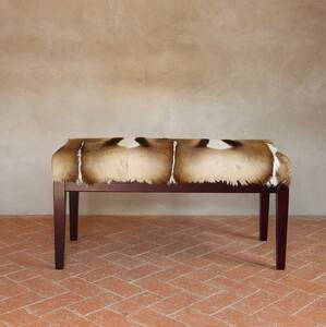 Genuine Springbok Hide Bench 36 x 16 x 19 H inches Springbok Hide, Wood